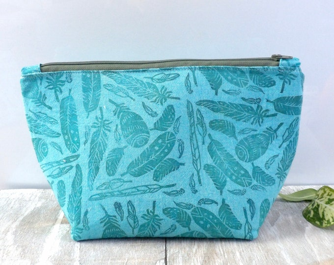 Feather, Travel Bag, Zipper Pouch, Birds, Hand-Stamped, handcrafted, Block Printing, Makeup Bag