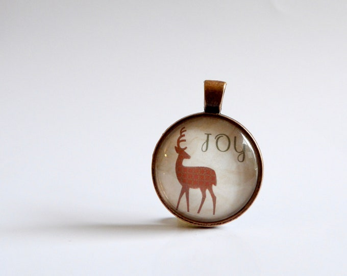 Joy, Christmas, Necklace, Reindeer, Glass, Pendant, Holiday Party, Christmas Decor, Christmas Party, Jewelry, Holidays