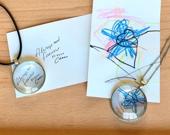Personalized, Handwritten Notes, Your Love Letter, Pendant, Necklace, Glass, Personal, Love, Gifts for Her, Two Options, Love Letters,