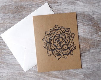 Succulent, Blank Cards, Flower, Botanicals, Gift, Thank You Cards, Set of Blank Cards, Occasions, Art, Stamped, Handmade, Special Occasion