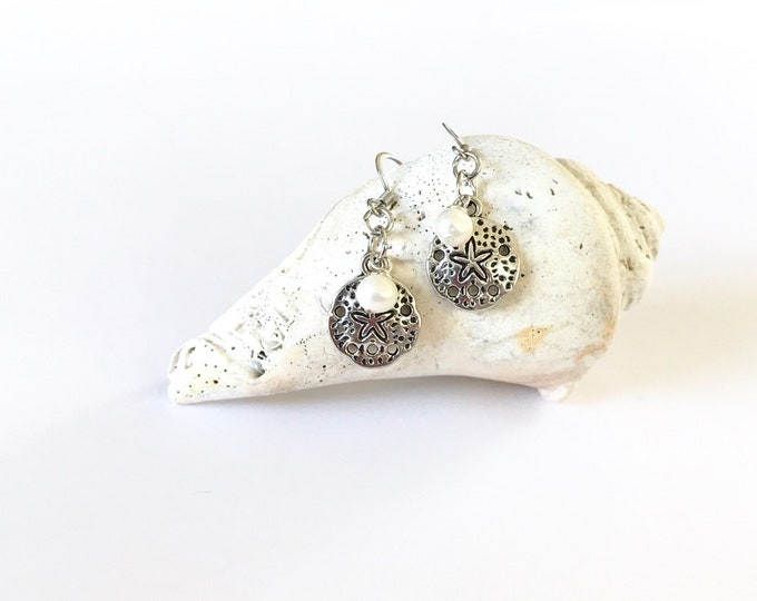 Beach, Jewelry, Drop, Earrings, Pearl, Sand Dollar, Beach Earrings, Pearl Earrings, Wedding Party, Gifts, Beach Lover, Gifts for Her
