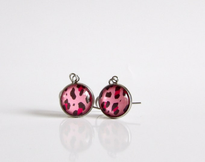 Pink, Hot Pink, Leopard, Earrings, Dangle Earrings, Leopard Print, Gifts, Animal, Pattern
