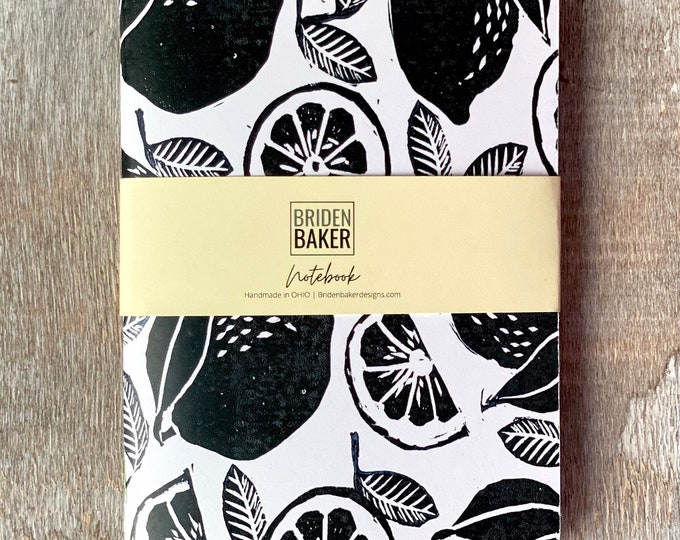 Fruit, Notebooks, Lemon, Foliage, Artwork, Monoprints, Book, Journal, Paper, Stationary, Gifts, Colorful