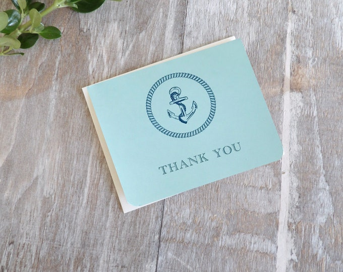 Anchor, Ocean, Blank Cards, Thank You, Beach, Pattern, Gift, Ocean Life, Thank You Cards, Occasions, Handmade, Special Occasion, Blue