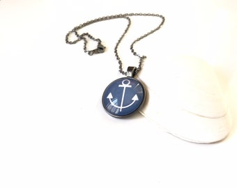 Anchor Beach Glass and Resin Pendant Necklace Navy Blue and White