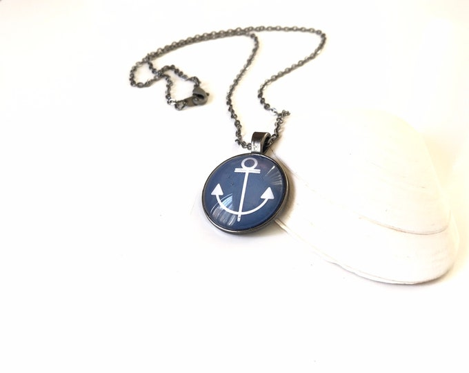 Anchor, Beach, Pendant, Glass, Necklace,  Stacking, Stack, Layering, Navy Blue, White