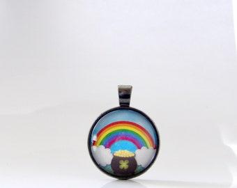Rainbow, St. Patrick's Day, Necklace, Pendant, Pot of Gold, Jewelry, Good Luck, Parade, Gift, Ireland, St. Patty, Irish, Stacking, Layering,