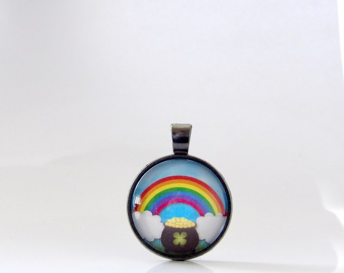 Rainbow, St. Patrick's Day, Necklace, Pendant, Pot of Gold, Jewelry, Good Luck, Parade, Gift, Ireland, St. Patty, Irish, Stacking, Layering,