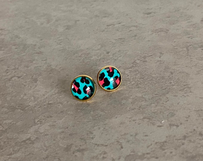 Cheetah Stud, Earrings, Blue, Pink, Jewelry, Glass, Drop Earrings, Pattern, Snake, Animal Print, Gifts for Her, Birthday Gift, In the Wild
