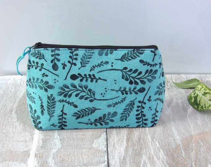 Botanical,Travel Bag, Zipper Pouch, Foliage, Hand-Stamped, handcrafted, Block Printing, Makeup Bag, Teal