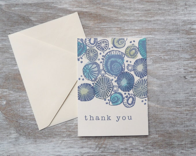 Shell, Beach, Thank You, Blank Cards, Gift, Thank You Cards, Set of Blank Cards, Occasions, Art, Stamped, Handmade, Special Occasion, Ocean