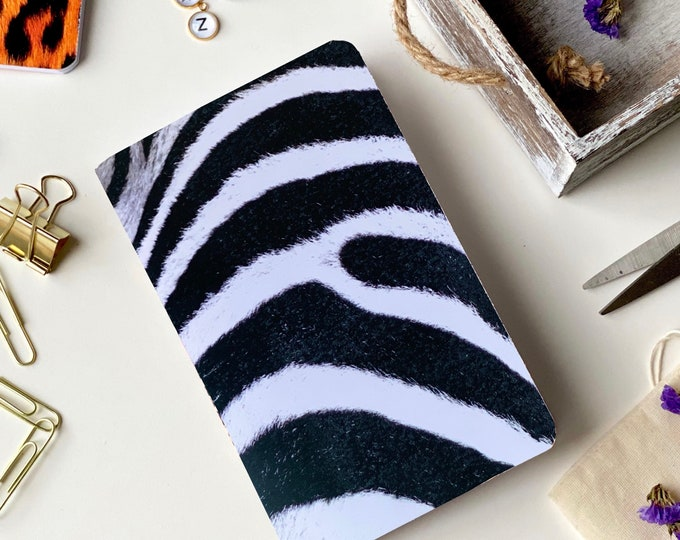 Animal Print, Zebra, Notebook, Blank, Journal, Art, Gift Ideas, Pattern, Cardstock, Handmade, Paper, Back to School