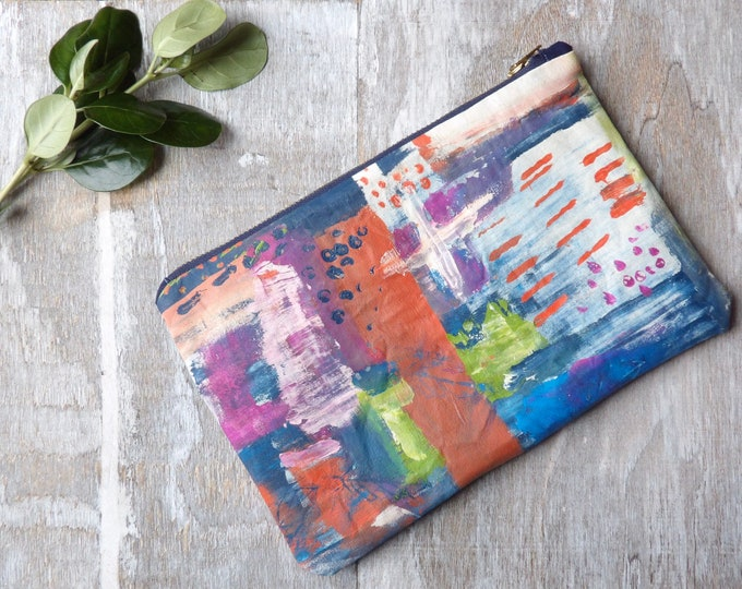 Painted Zipper Pouch, Abstract, Art, Pencil Pouch, Makeup bag, Colorful, Travel, Zipper Bag, Abstraction