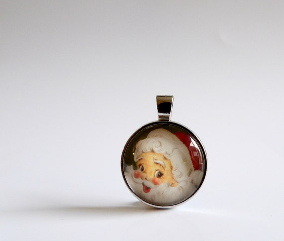 Vintage, Santa, Pendant, Necklace, Santa Claus, Glass, Jewelry, Holiday Party, Christmas Party, Vintage Santa, Silver