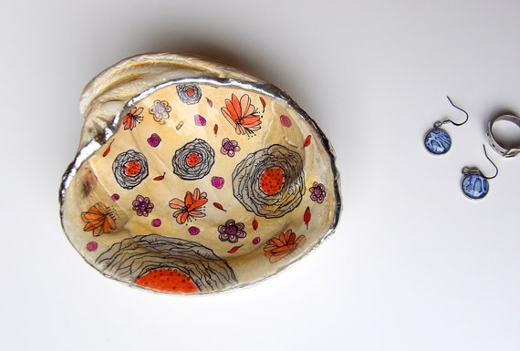 Floral, pattern, Shell, Jewelry Dish, Art, Handcrafted, Trinket Dish, Fall Foliage, Beach, Fall, Bowl, Clamshell