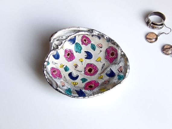 Floral, Art, Home Decor, Art, Jewelry Dish, Handcrafted, Trinket Dish, Illustration
