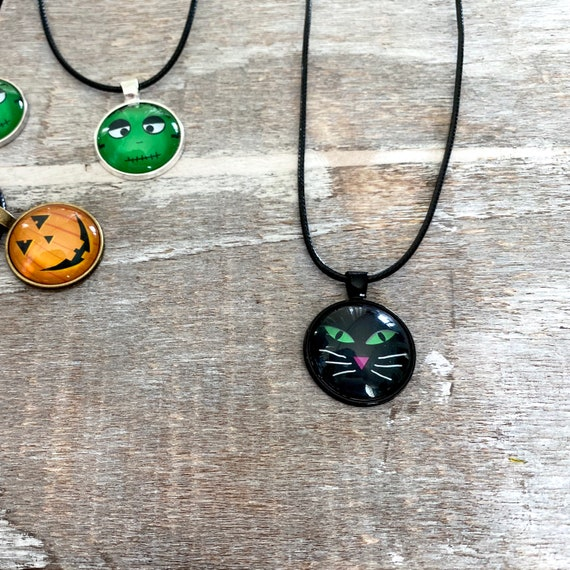Halloween, Black Cat, Necklace, Pendant, Glass, Jewelry, Party, Gift Idea, Spooky, Pumpkin, Stacking, Layering