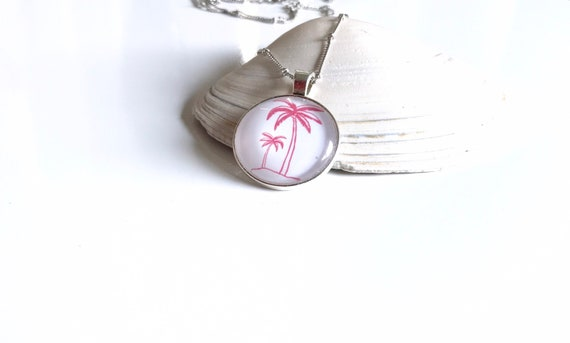 Beach and Palm Tree Pendant Necklace in Pink and White