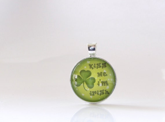 Irish, St. Patrick's Day, Necklace, Pendant, Glass, Jewelry, Party, Gift Idea, St. Patty, Kiss Me I'm Irish, Stacking, Layering
