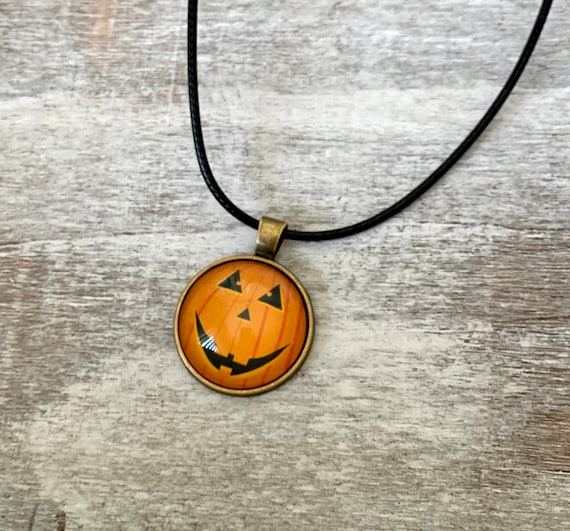 Halloween, Pumpkin, Necklace, Pendant, Glass, Jewelry, Party, Gift Idea, Spooky, Black cat, Stacking, Layering