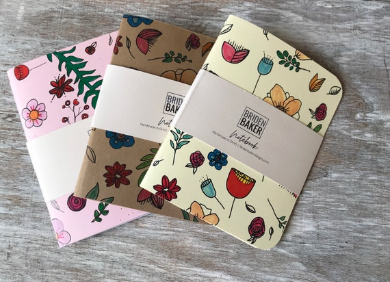 Notebook, Set of 3, Blank, Flower, Floral, Journal, Art, Gift Ideas, Pattern, Cardstock, Handmade, Paper