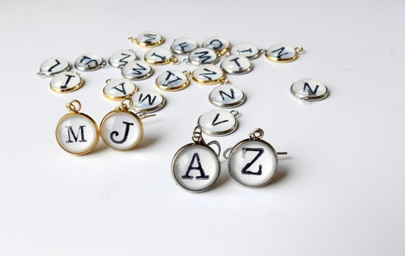 Personalized, Mix and Match, Earrings, Initial, Letters, Dangle Earring, Gifts for Her, Holidays, Perfect Gift, Gold, Stainless Steel, Cute