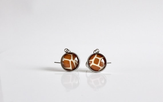 Giraffe, Dangle Earrings, Glass, Jewelry, Giraffe Pattern, Stainless Steel, Drop Earrings, Hypoallergenic, In the Wild
