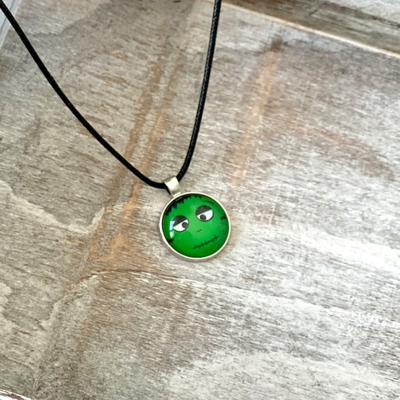 Halloween, Green Monster, Necklace, Pendant, Glass, Jewelry, Party, Gift Idea, Pumpkin, Spooky, Black cat, Stacking, Layering