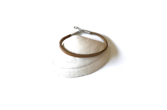 Leather - Bracelet - Boho - Leather Bracelet - Boho Chic- Stackable  - Leather Goods - Jewelry - Brown Leather - Leather Lace - Silver