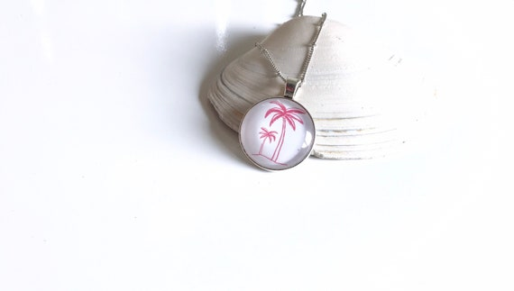 Palm Trees, Beach, Pendant, Jewelry, Necklace, Vacation,  Stacking, Stack, Layering, Pink, White,