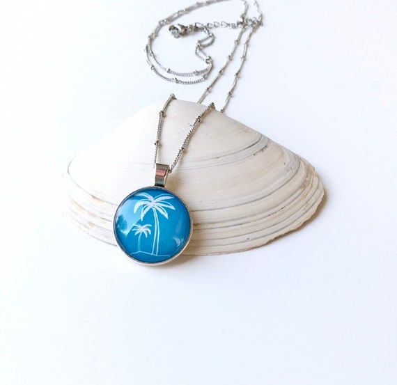 Beach and Palm Tree Pendant Necklace in Blue and White