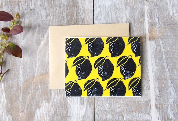 Lemon, Art, Blank Cards, Thank You, Fruit, Lemons, Pattern, Gift, Thank You Cards, Occasions, Handmade, Special Occasion, Yellow