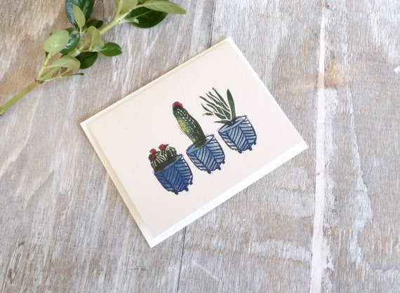 Cactus, Blank Cards, Flower, Succulent, Botanicals, Gift, Thank You Cards, Blank Card, Occasions, Stamped, Handmade, Special Occasion