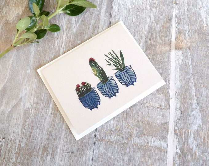 Featured listing image: Cactus, Blank Cards, Flower, Succulent, Botanicals, Gift, Thank You Cards, Blank Card, Occasions, Stamped, Handmade, Special Occasion
