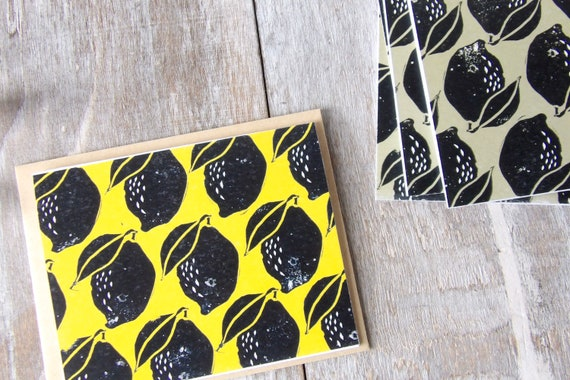 Lemon, Art, Blank Cards, Thank You, Fruit, Block Print, Lemons, Pattern, Gift, Thank You Cards, Occasion, Handmade, Special Occasion, Yellow