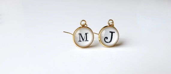 Personalized, Earrings, Initial, Mix and Match, Letters, Gold, 14k Gold Plated, Handcrafted, Dangle Earring, Gifts for Her, Stainless Steel