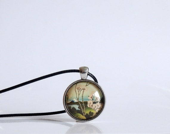 Vintage, Japanese Sakura Blossoms, Pendant, Necklace, Hokusai, Mount Fuji, Art, Glass, Jewelry, Bezel, Gifts for Her, Old Photos, Japan Art