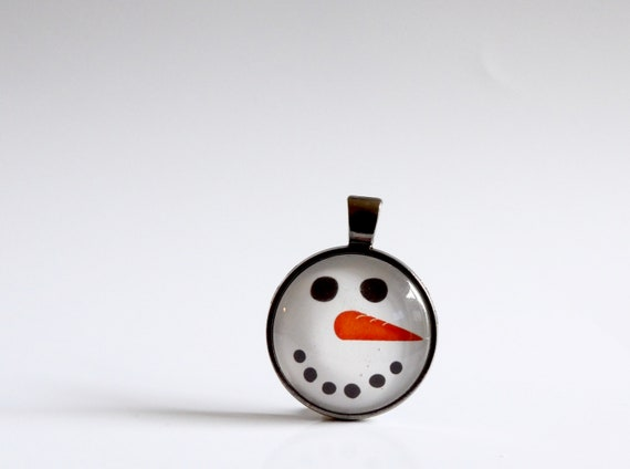 Holiday, Snowman, Glass, Pendant, Necklace, Gunmetal Gray, Winter, Fun, Christmas Tie, Holiday Party