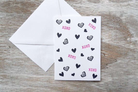 Xoxo, Blank Cards, Hearts, Gift, Cards, Set of Blank Cards, Occasions, Art, Stamped, Handmade, Special Occasion