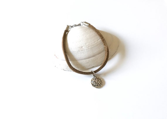 Beach - Leather - Bracelet - Boho - Leather Bracelet - Sand Dollar - Boho Chic- Stackable  - Jewelry - Brown Leather - Leather Lace - Silver