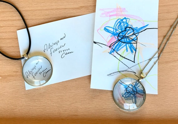 Personalized, Handwritten Notes, Your Love Letter, Pendant, Necklace, Glass, Personal, Love, Gifts for Her, Gifts for Him, Love Letters