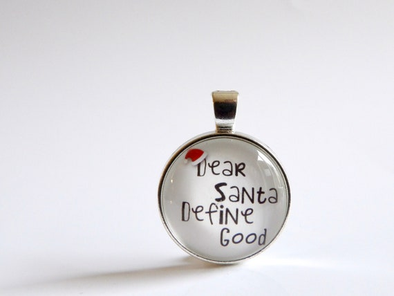 Santa, Letter, Christmas, Necklace, Silver, Pendant, Glass, Jewelry, Christmas Jewelry, Christmas Tie, Christmas Party, Holiday Party