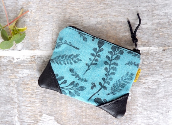 Botanical, Zipper Wallet, Foliage, Coin Purse, Cute, Blue, Leather, Hand-Stamped, handcrafted, Block Printing,