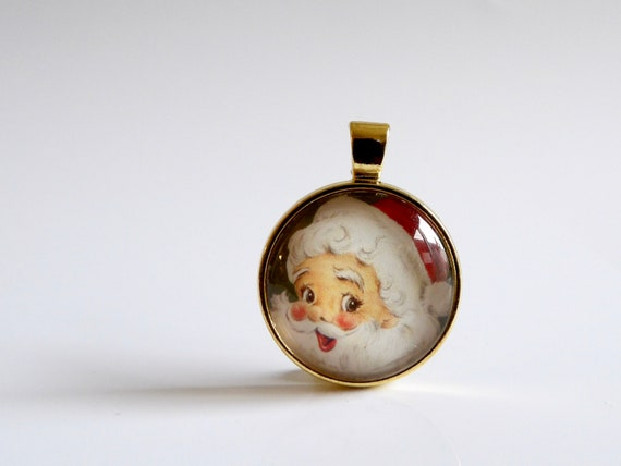 Vintage, Santa, Gold, Necklace, Holidays, Vintage Santa, Christmas, Holiday Party, Christmas Party, Jewelry, Gold Jewelry