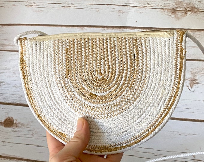 Featured listing image: Golden, Rainbow, Rope, Purse, Bag, Crossbody, Beach, Bag, Summer, Coin, Handcrafted, Zipper Bag, Travel, Vacation