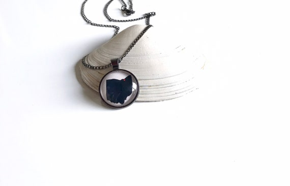 Ohio, Heart Over Cleveland, Home, Pink, Gunmetal, Pendant, Jewelry, Ohio Necklace, Gifts for Him, Gifts for Her, Stacking, Stack, Layering