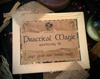 Practical Magic Apothecary Kit ~ Herb Kit, Herb Learning, Herb Starter Kit, Herb Cabinet, Organic Herbs, Herbal Magic, Green Witch, Non GMO