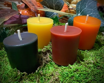 Botanically Dyed Beeswax Votive Candles ~ Set of Four ~ Handmade Candle, Natural Candle, Palm Oil Free, Soy Wax Free, Plant Based, Non GMO,