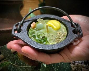 Earth's Cauldron Signature Mini Cauldron Beeswax Candle ~ Authentic Cast Iron Cauldron ~ Handmade Candle, Natural Candle, Palm Oil Free