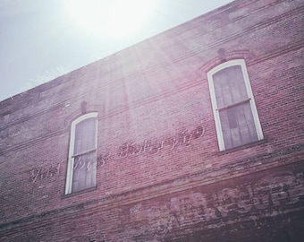 Brick Building Photo, Industrial Wall Art, Architectural Photography, Building Advertisement, Window Photograph, Brick Wall Advertisement